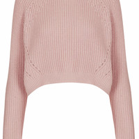 Knitted Curve Hem Crop Jumper