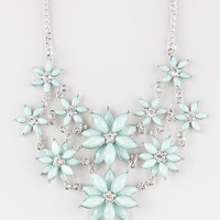 Full Tilt 2 Row Facet Flower Statement Necklace Mint One Size For Women 25576352301