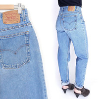 Sz 12 High Waisted Levi's 512 Slim Fit Mom Jeans - Vintage 90s Women's Tapered Leg Stone Washed Faded Blue Denim Jeans - 30.5 Waist