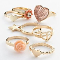 Candie's® Gold Tone Simulated Crystal Heart & Flower Stack Ring Set