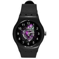 Goth / Punk Purple Heart  with Cross Inside on a Black Plastic Watch ...New