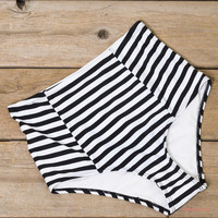High Tide Black & White Striped High Waist Swim Bottoms