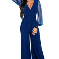 Blue Embellished Cuffs Long Mesh Sleeves Jumpsuit