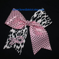 Breast Cancer Awareness Leopard / Cheetah and Pink Sequin Dot Hair Cheer Bow