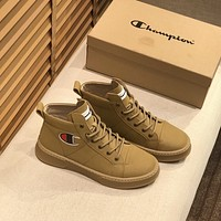 Champion  Trending Women's men Leather Side Zip Lace-up Ankle Boots Shoes High Boots