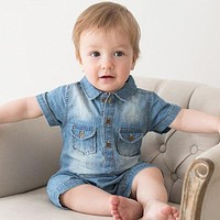 Jumpsuits Baby Boy Clothing Cowboy Rompers Newborn Gentleman Style Casual Clothing Boy Clothes Children Clothing