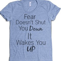 Fear Wakes You Up-Female Athletic Blue T-Shirt