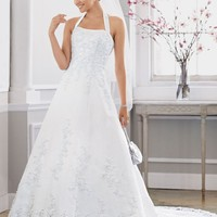 Satin halter A-line Gown with Beaded Lace Applique Wedding Dress - Basadress.com