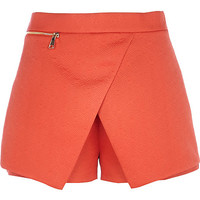 River Island Womens Orange embossed smart skort