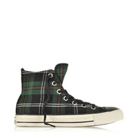 Converse Limited Edition Designer Shoes All Star HI Textile Green Tartan Sneaker