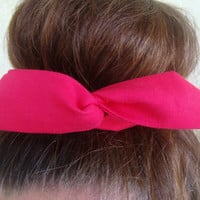 """Wire Bun Wrap, Top Knot Wire Wrap Solid Hot Pink """"Mini"""" Dolly Bow Wire Headband Ponytail Hair tie Hair Bun Tie Wrap"""
