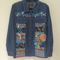 Boho Denim Blouse, Embroidered Denim Shirt, Western Native Ethnic Bohemian Vintage 90s Blouse, Blue Jean Shirt Southwest Country Shirt Roses