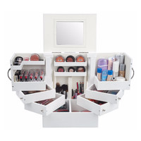 Luxury Deluxe Wood Cosmetic Box w/Mirror