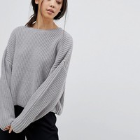 ASOS PETITE Chunky Sweater In Crop With Volume Sleeve at asos.com