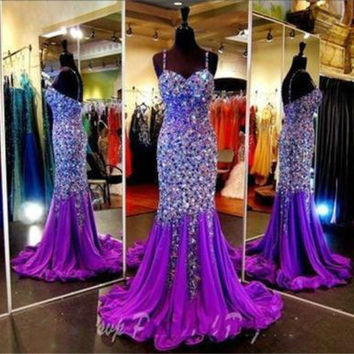 Luxury Crystal Rhinestone Mermaid Evening Ball Gown Formal Pageant Prom Dresses