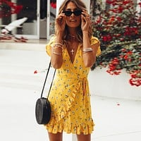 2018 Fashion Women V-Neck Printed Dress