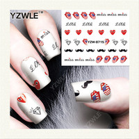 YZWLE 1 Sheet DIY Decals Nails Art Water Transfer Printing Stickers Accessories For Manicure Salon YZW-8715