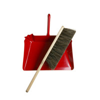 KIOSK - Horsehair Hand Broom and Red Metal Dustpan