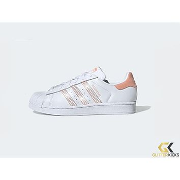 Womens Adidas Superstar + Crystals - Cloud White/Glow Pink/Core Black
