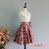 Spring's Whisper Floral Skirt Spring Summer Sweet Rosy Brown Floral Skirt Party Cocktail Skirt Wedding Bridesmaid Skirt Rosy Brown Skirts