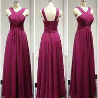 A-Line Chiffon Prom Dress,Pleat Purple Long Prom Dresses
