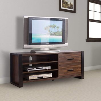Two Drawers Wooden TV Stand With Sled Legs and Three Open Shelves, Black and Brown