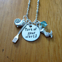 Little Mermaid Inspired Necklace. Part Of Your World. Silver colored, Swarovski crystal, for women or girls. Part of your world necklace.