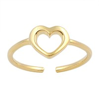 Sterling Silver Hollow Heart 6MM Toe Ring/ Knuckle/ Mid-Finger Yellow Gold-Tone Plated