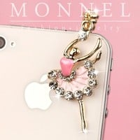 ip579 Cute Artist Dancer Ballet Dust Proof Phone Plug Cover Charm For Cell Phone