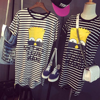 Striped Simpson Printed Short Sleeves High Low  T-Shirt