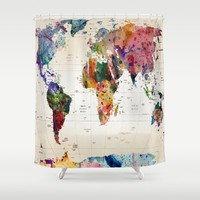 map Shower Curtain by Mark Ashkenazi
