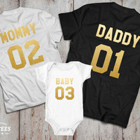 Mommy Daddy Baby 01 Father Mother Daughter Son T-shirt Set,  Mommy Daddy shirts, Couples Shirts, 100% cotton Tee, UNISEX
