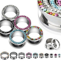 Stainless Steel Flesh Tunnels With Gems   BodyJewelrySource