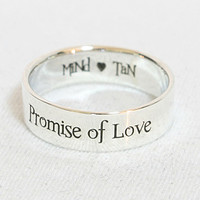 Personalized Ring .925 Sterling Silver Engraved Ring 6 mm width