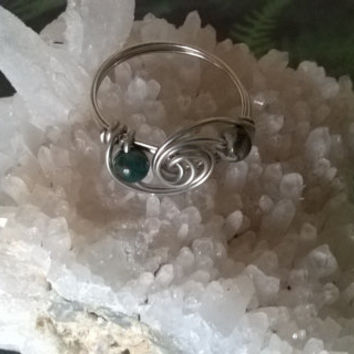 natural Moss Agate ring artisan wire wrapped stone bead ring raw green gemstone handmade crystal jewelry silver or gold Virgo birthstone