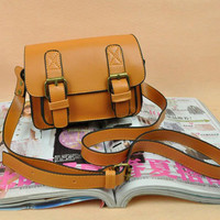 Newest Double Buckles Pure Messenger Bags Brown  : Wholesaleclothing4u.com