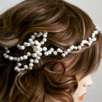 1920s Pearl Wedding Headband Unique Bridal Hair Accessories
