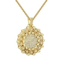 Round Cluster Medallion canary yellow pendant Box Chain