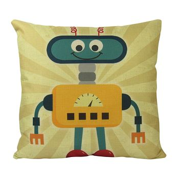 Robot | Yellow | Fun Gifts | Pillow Cover | Home Decor | Throw Pillows | Happy Birthday | Kids Room Decor | Kids Room | Room Decor