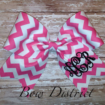 """3"""" Pink and White Chevron Cheer Bow with Monogram"""