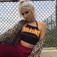 Thrasher Print Halter Cotton Cami Crop Vest Tank Top