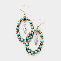 Natural Stone Feather Dangle Earrings