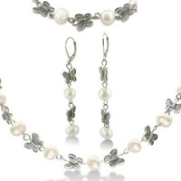 Pearl and Butterfly Ensemble - Necklace, Bracelet, Earrings