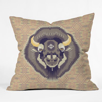 Chobopop Geometric Bison 1 Outdoor Throw Pillow