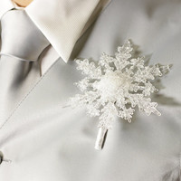 Boutonniere - Winter Snowflake - Button Hole - Wedding Accessory for Groom, Groomsmen, and Prom
