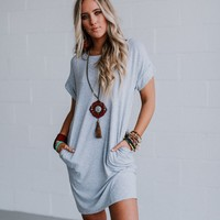 Elements Roll Sleeve Tee Dress - Heather Gray