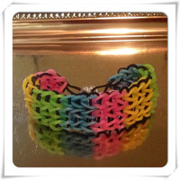 Rainbow Rubber Band Bracelet Multicolor Bracelet in Pink, Yellow, Green and Blue Rainbow Loom Bracelet Friendship Bracelet Stretch Bracelet
