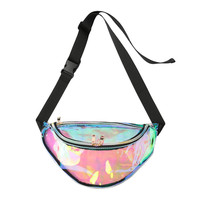 Transparent Zippered Waist Bag with Adjustable Padded Strap