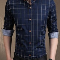 Check Men Shirt With Button Down Collar