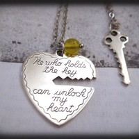 Key To My Heart, antique silver plated two necklaces set